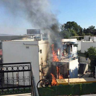 Bodrum ilçe merkezindeki yangında hareketli anlar yaşandı